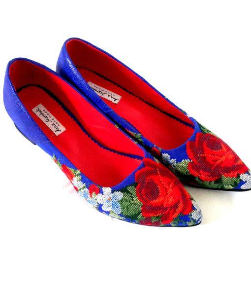 """Туфлі """"Ніжні троянди"""" сині А1"""